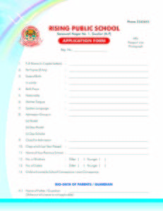 Hostel School Admission Form